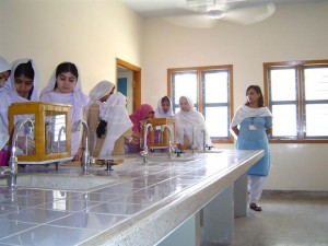 Students performing experiments in laboratory