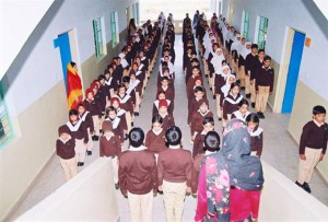 Students Standing in Assembly