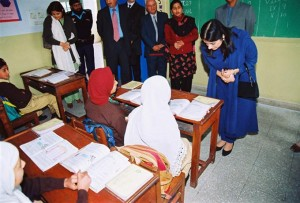 Princess Sarwat is photographed during a class visit