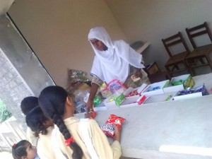Children Get Eatables from the Campus Canteen