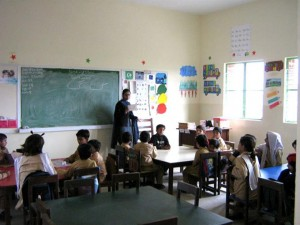 The colorful and sunlit classroom