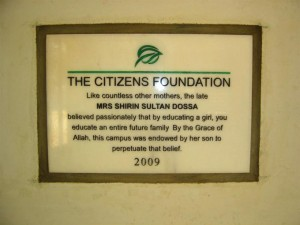 A plaque to honor the donor