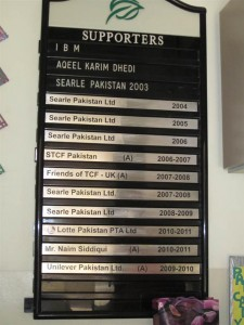 Supporters' recognition board in the principal's room