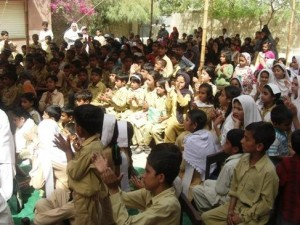 Students and their mothers gather together to celebrate annual result day on April 1, 2011