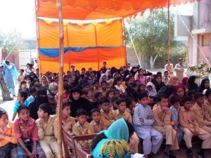 Students with their mothers attending the annual ceremony that marked Result Day on April 1, 2011