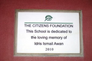 Every TCF school carries such plaque to honour the donors of the campus.