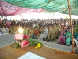 Young students and their mothers turned up to attend the ceremony held on April 1, 2011 to mark annual Result day.