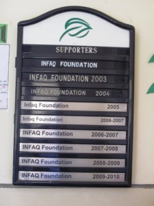 Supporters board in the Principal's office
