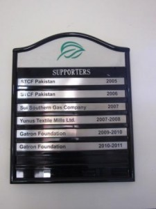 Supporters board in the Principal's room