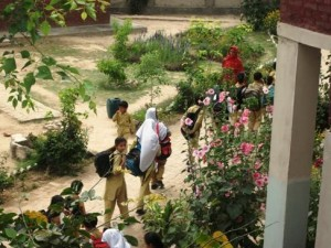 Students on their way to the campus