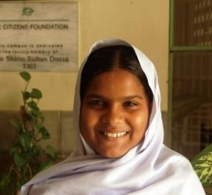Saba Shamshad is a far-sighted and intelligent student of grade VI at TCF secondary school – Shirin Sultan Dossa Campus VI, in Bin Qasim Town, Karachi, Sindh. This Campus was built by gracious donation from Shirin Sultan Doosa Foundation. She wants to become a teacher and teach in any TCF school.