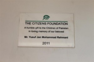 A Plaque is placed in the School as a token of Gratitude for our Donor
