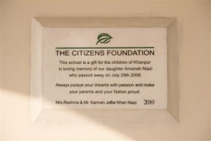 Each of Our Campus Carries a Plaque in Gratitude of our Donors