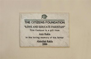 A Plaque Placed in Our Campus in Gratitude Towards Our Donor