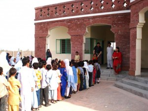 New Students from the Community Gather for their First Day at School