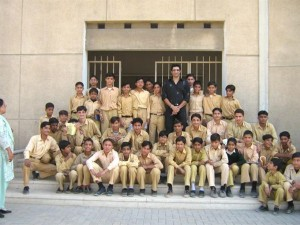 Popular Sports Personality Wasim Akram Posed with his Young Fans When he Visited Cowasjee Campus