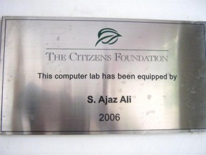 This plaque honors the donor who equipped the computer lab of this campus