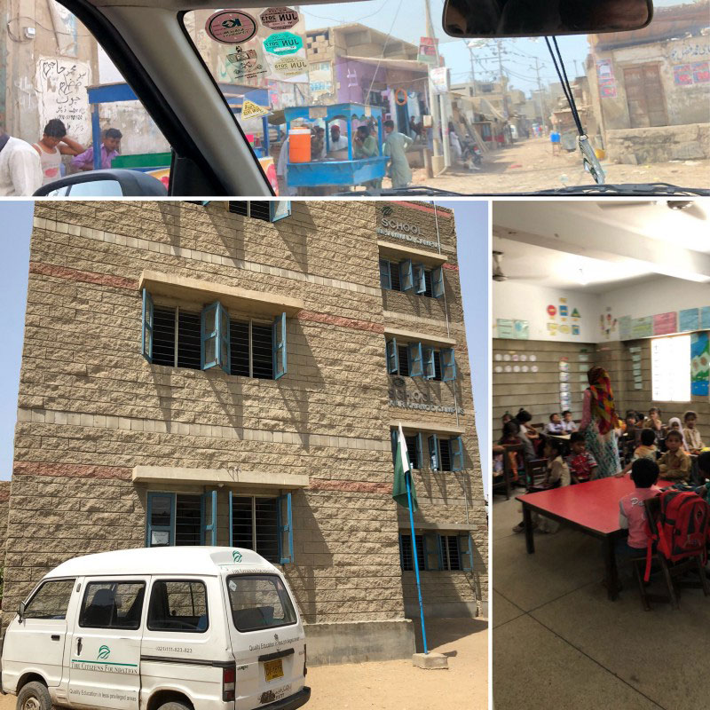 A big beautiful building with colorful classes and happy students. TCF School, Macchar Colony, Karachi, Pakistan